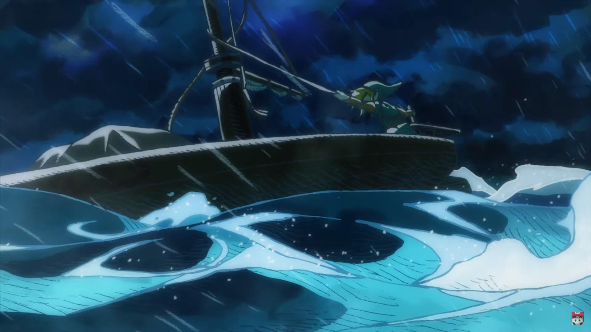 Link navigant en pleine tempête