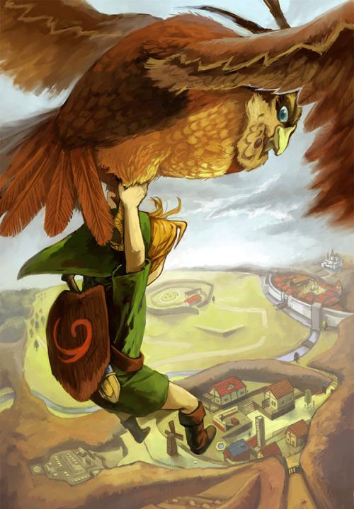 Zelda Ocarina of Time montagne Link & Hibou