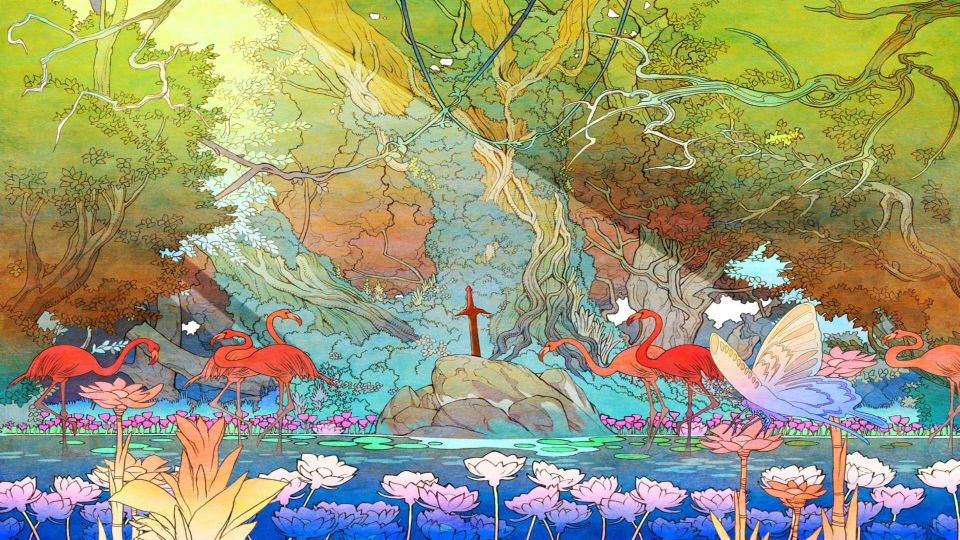Secret of Mana 3D remake artwork Flamants roses