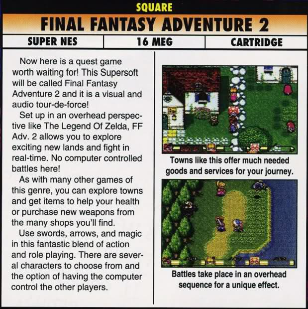 Secret of Mana publicité Final Fantasy Adventure 2